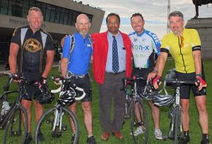 Dr Webster (in the Kon-X shirt)  at the end of 500 miles for Woolton Community Life. With Dr Kuruvilla his colleague and founder of Woolton Community Life.
